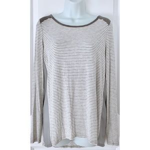 Anthro Olive & Oak Gray Striped Long Sleeve Tee
